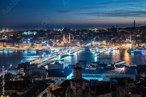 Photo  night Istanbul Galata bridge Bosphorus