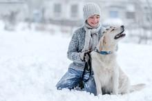 Portrait Of A Boy With A Dog O...