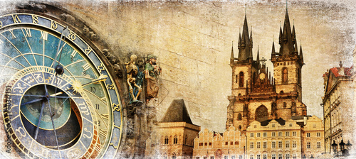 Foto op Canvas Praag Old Prague - artistic vintage card