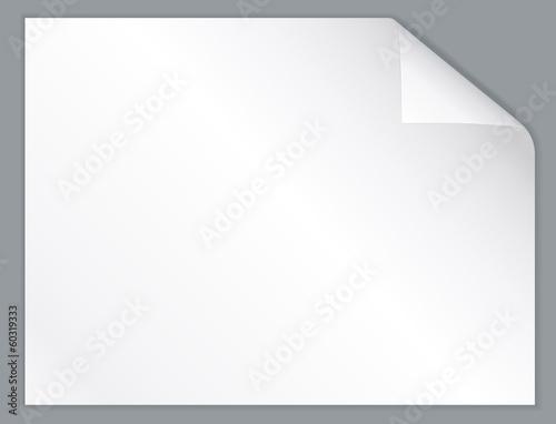 Fototapeta White horizontal paper sheet with folded corner. obraz