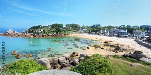 Fotografie, Obraz  Panoramique de Trestraou, Bretagne.