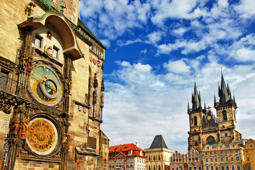 Prague, Czech Republic - view of square and astronomical clock Canvas Print