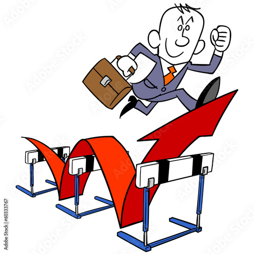 Fotografie, Obraz  ハードルを飛び越えるビジネスマン