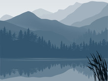 Blue And Grey Lake In Mountain...