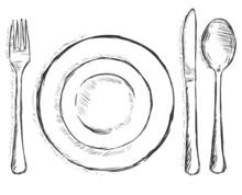 Vector Sketch Illustration -  Cutlery