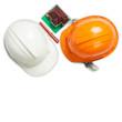 White and orange helmet