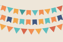 Vector Party Flags In Pastel P...
