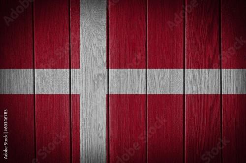 denmark, danish flag painted on old wood plank background Fototapete