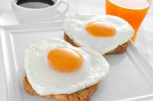 Heart-shaped Fried Eggs, Bread...