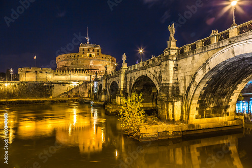 Garden Poster Palermo The night view of the castle and bridge of Sant'Angelo in Rome,I
