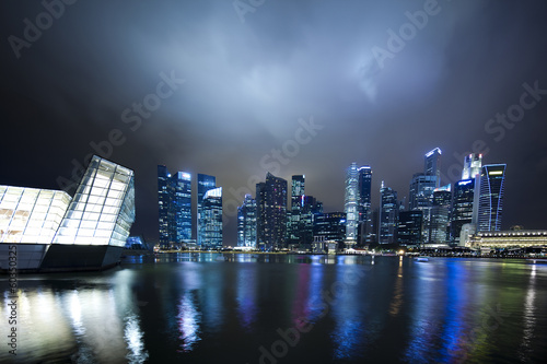 Singapore city skyline at night Poster