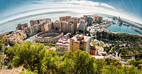 Fotomural Panoramic view of Malaga bullring and harbor. Spain