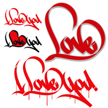 Love Heart Typography. I Love You. Love Graffiti, Calligraphy.