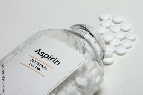 Aspirin bottle fallen over with pills, horizontal Wallpaper Mural