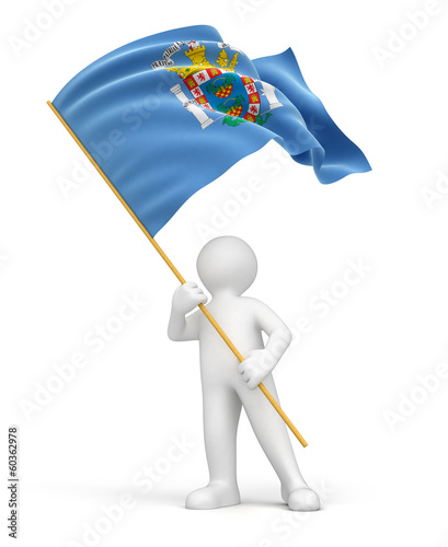 Man and Melilla flag (clipping path included)