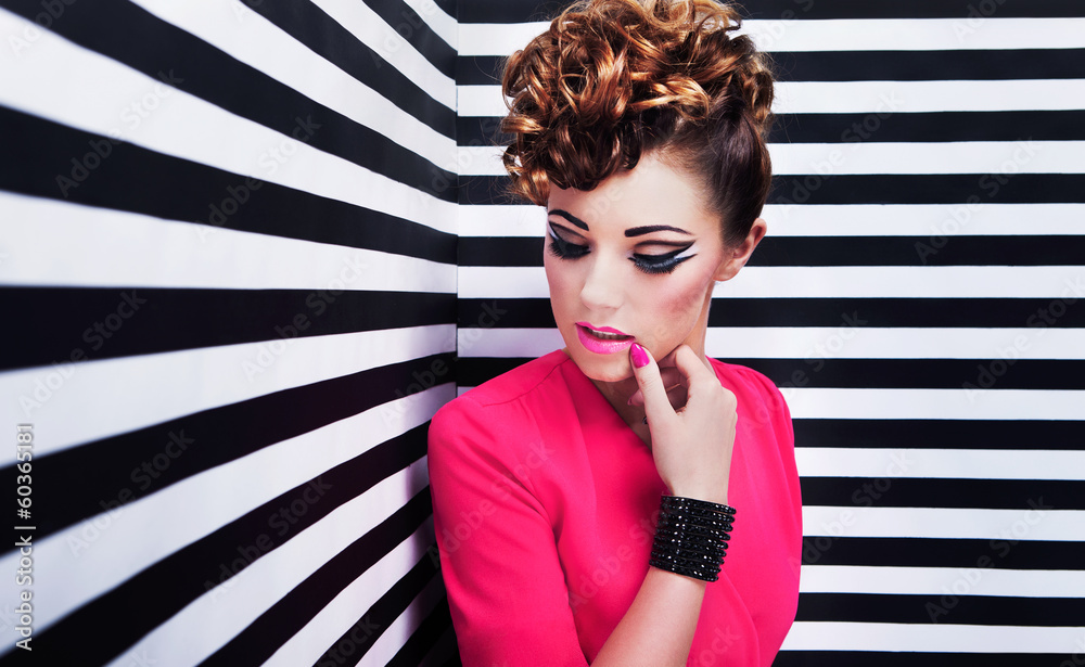 Fototapety, obrazy: Beautiful young woman with professional party make up