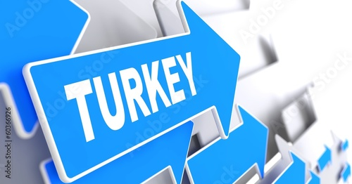 Turkey on Blue Direction Sign. #60366926