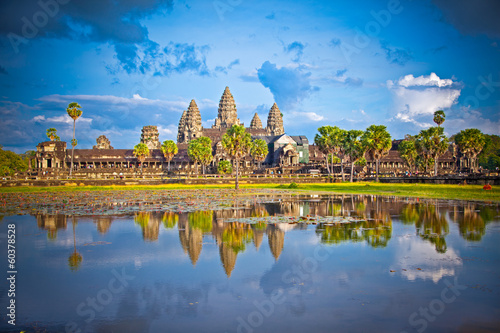 фотография  Famous Angkor Wat temple complex in sunset,  Cambodia.