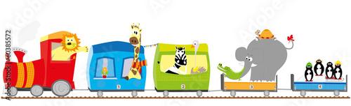 Pociąg i zwierzęta-  ilustracja - 60385572
