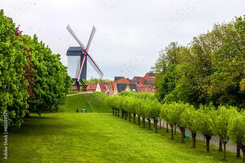 Aluminium Prints Mills Wind mill in Bruges, Belgium