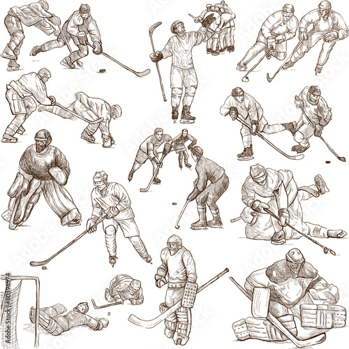 Ice Hockey - hand drawings collection on white Wallpaper Mural