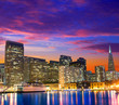 San Francisco sunset skykine from Pier 7 in California