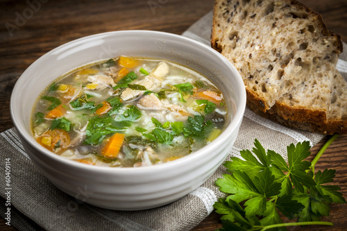 Fotografie, Obraz  Chicken soup with rice and vegetables