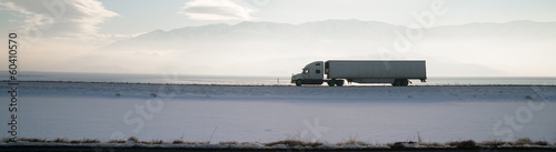 Fototapeta Long Haul Trucker White Light Polution Salt Flats Utah Highway
