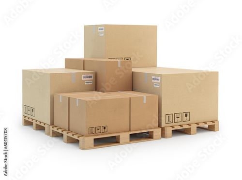 Fotografie, Obraz  Cardboard boxes on a pallet. Isolated on white background.