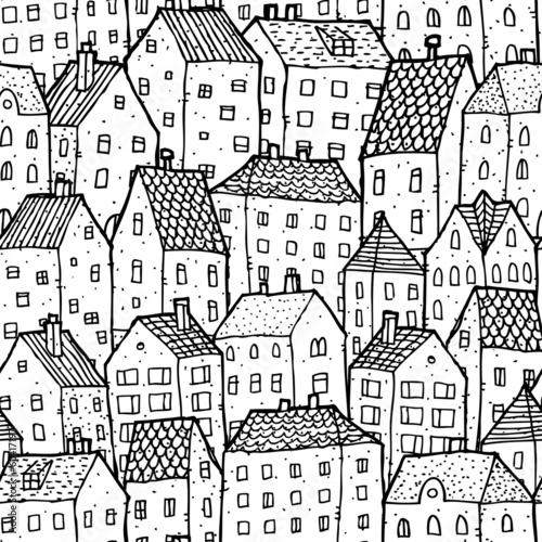 miasto-wzor-w-czarno-bialy