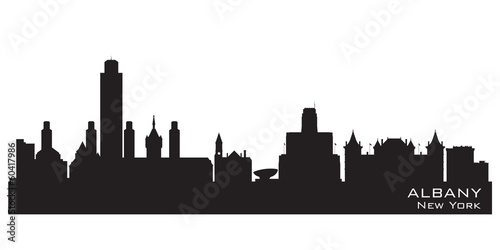 Fotografie, Tablou Albany New York city skyline vector silhouette