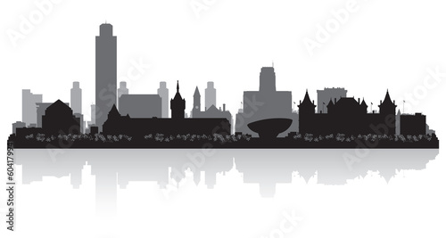 Albany New York city skyline silhouette Tablou Canvas