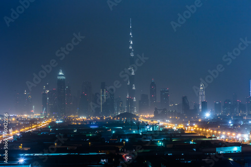 Photo  Dubai panorama and Burj Khalifa is currently the tallest buildin