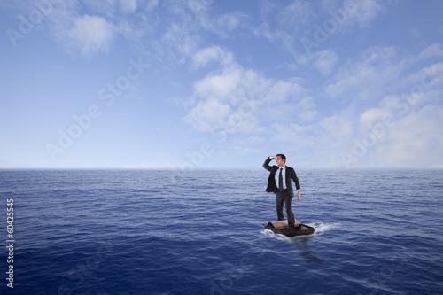 Obraz na plátně Businessman lost at sea