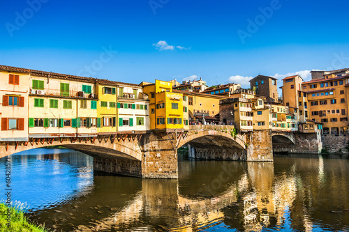 Ponte Vecchio with river Arno at sunset in Florence, Italy