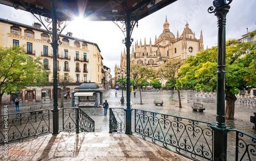 Plaza Mayor with Catedral de Santa Maria in Segovia, Spain