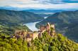 Landscape with old castle and Danube river in Wachau, Austria