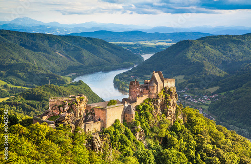 Fotomural  Landscape with old castle and Danube river in Wachau, Austria