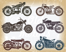 Vector Set Of Old Classic Moto...