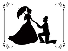 Retro Silhouettes Of People In...