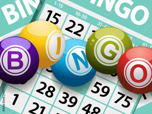 Photo bingo balls on a card background