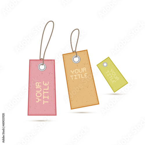 Fototapety, obrazy: Recycled Paper Labels, Tags on White Background