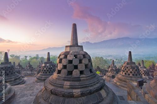 Foto op Plexiglas Bedehuis Sunrise Borobudur Temple Stupa in Yogyakarta, Java, Indonesia...