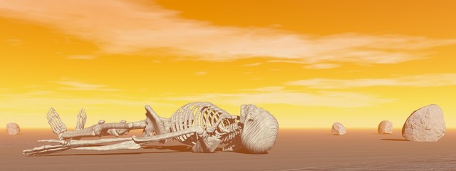 Fototapeta Skeleton in the desert - 3D render