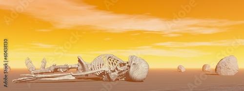 Skeleton in the desert - 3D render - 60438130
