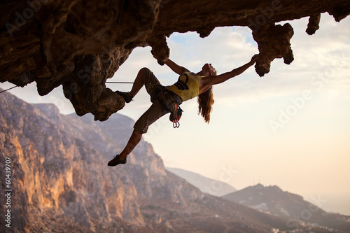 Rock climber at sunset, Kalymnos Island, Greece Fotobehang