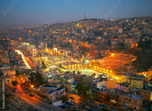 Carta da parati Night lights of Amman - capital of Jordan