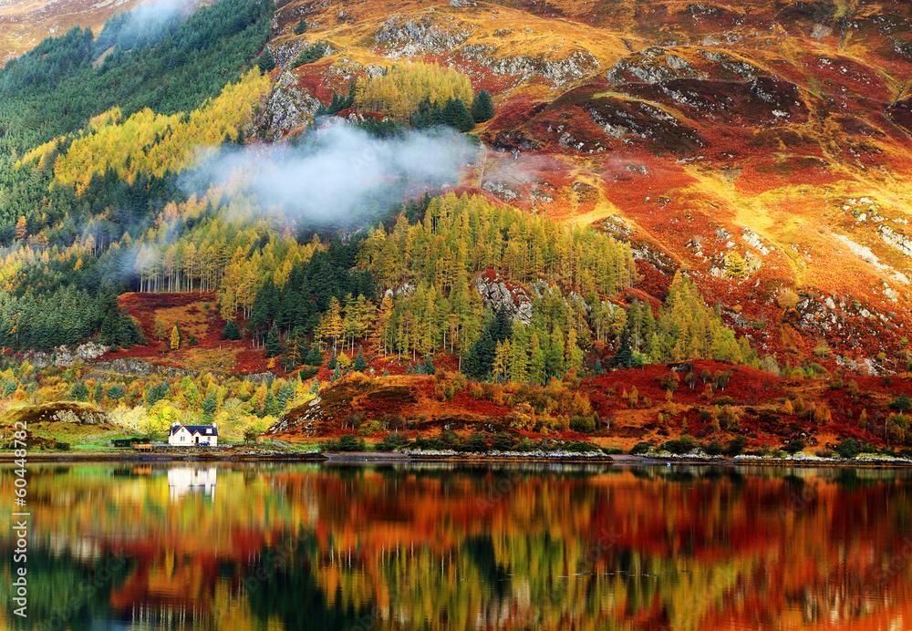Fototapeta Autumn colours in Highlands, Scotland, Europe