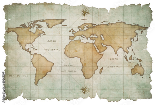 aged world map isolated on white