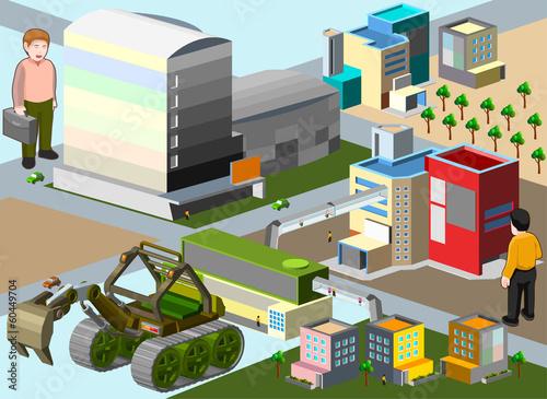 Foto op Plexiglas Op straat several building isometric. very detail isometric vector